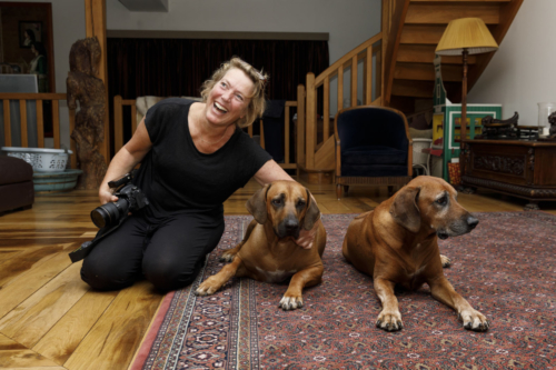 Marjolein Moens during a photo shoot of the dogs Bentley and Baldwin