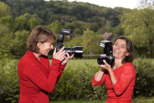 Maike den Houting and Marjan Rosendahl during photo shoots in Burgundy