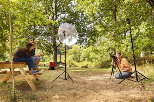 Photographer Marjolein Moens during a photoshoot in Burgundy